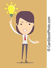 Business woman showing she has an idea. Vector illustration...