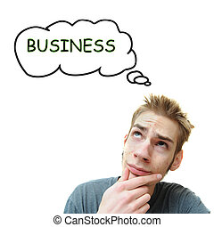 Young man thinks business - A young white male adult thinks...