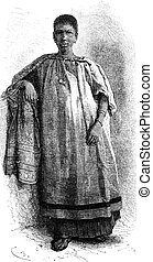 Girl from St. Louis, vintage engraving. - Girl from St....