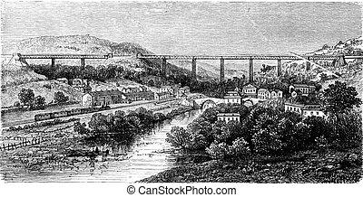 Crumlin Viaduct, vintage engraving. - Crumlin Viaduct,...