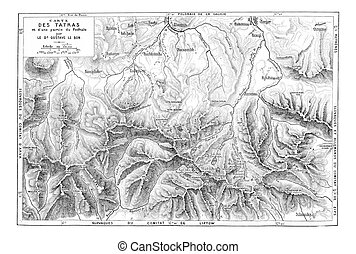 Map of the Tatra Mountain Range, vintage engraving - Map of...
