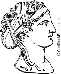 Greek hairstyle, vintage engraving.