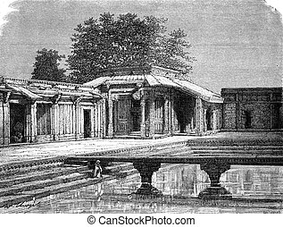 Sultan Palace, Fatehpur Sikri, vintage engraving. - Sultan...
