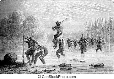 The passage of the ford, vintage engraving - The passage of...