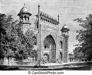 Door gardens of the Taj Mahal, Agra, vintage engraving. -...