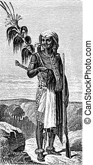 Native Timor, vintage engraving - Native Timor, vintage...