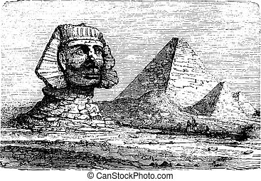 Pyramids of Giza and the Great Sphinx, vintage engraving.