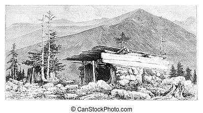 Shepherd's Hut in the Tatra Mountains, Poland, vintage...