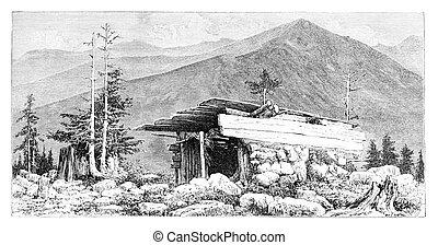 Shepherd's Hut in the Tatra Mountains, Poland, vintage...