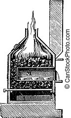 Cupellation furnace, vintage engraving - Cupellation...