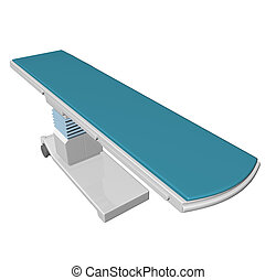 Adjustable height medical examination table or bed with blue padding, 3D illustration, 3D illustration