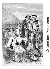 Podhales of the Tatra Mountains, Poland, vintage engraving -...