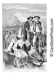 Podhales of the Tatra Mountains, Poland, vintage engraving -...