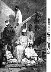 Senegalese family of St Louis, vintage engraving -...