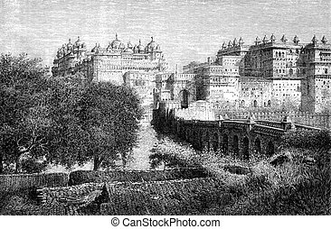 The citadel of Orchha, vintage engraving - The citadel of...