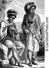 Natives of Timor, vintage engraving - Natives of Timor,...