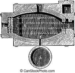 Reverberatory furnace, vintage engraving. - Reverberatory...