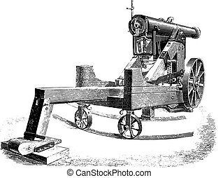 Cannon 138mm on modified square lookout, vintage engraving -...