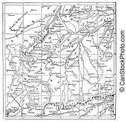 Map of Rajputs States (Western Rajasthan), vintage...