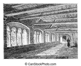 Cloister of the Nivelles Monastery, vintage engraving -...
