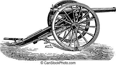 90mm field gun, 1877 model, vintage engraving.