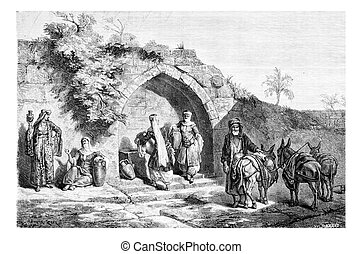Mary?s Well in Nazareth in Israel, vintage engraving -...