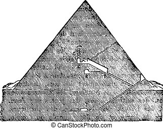 Cutting the Great Pyramid of Memphis, vintage engraving -...