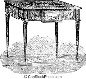 Work table, Louis XVI style (Louvre), vintage engraving.