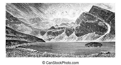 Gasienica Black Lake in Koscielec Valley in the Tatra...