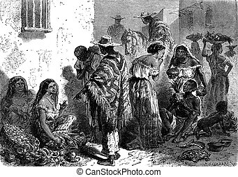 Market in Cartagena, vintage engraving - Market in...