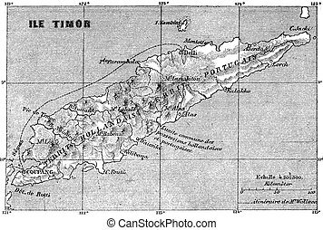 Map of Timor island, vintage engraving - Map of Timor...