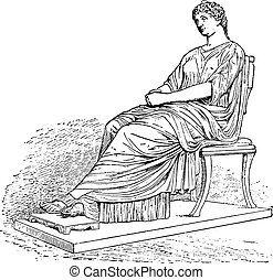 Statue of Agrippina, vintage engraving.