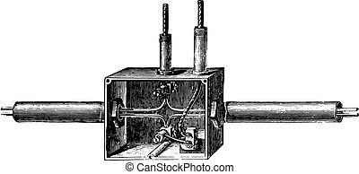 Branch box Edison pipe, vintage engraving.