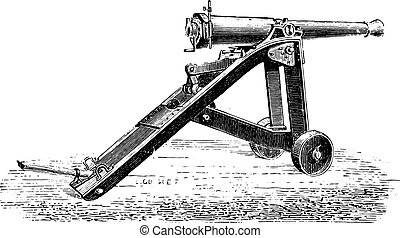Canon 7 on lookout for bunker, vintage engraving. - Canon 7...