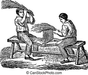 Workers fingering flax comb, vintage engraving - Workers...