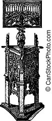 Carved wooden pulpit (XV century), vintage engraving. -...
