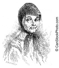 Sister Mary recluse Solovetsky. vintage engraving. - Sister...