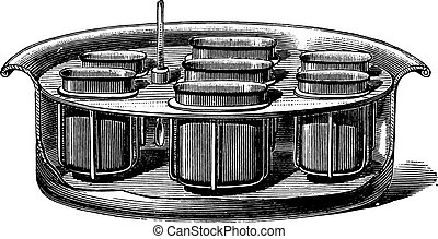 Boiler for dyeing tests, vintage engraving. - Boiler for...