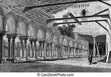 Cloister of the Monastery of Las Huelgas, near Burgos,...