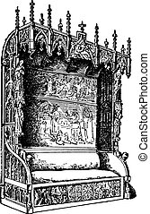 Castle room bench, of Gothic style, late fifteenth century, vintage engraving.