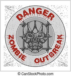 Poster Zombie Outbreak Zombie Apocalypse Sign board with...