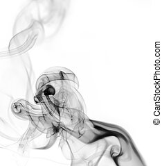 Abstract black smoke pattern over the white background