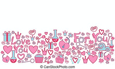 Valentines Day Abstract Background Hand Draw Horizontal Banner Sketch Doodle