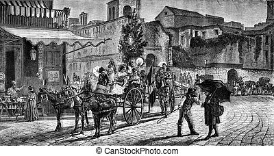 Departure for the feast of Montevergine in Naples, vintage...