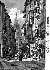 A Street of Toledo, vintage engraving - A Street of Toledo,...
