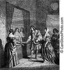 Visit a convent parlor, under Louis XIV, vintage engraving -...