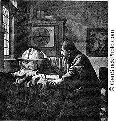 A geographer by Van der Meer of Delft, vintage engraving. -...