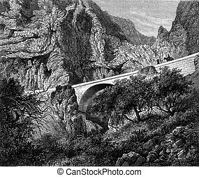 The St Louis Bridge, Alpes Maritimes, vintage engraving -...
