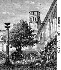 Museum of Toulouse, The large cloister, vintage engraving. -...