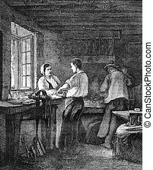 A Locksmith Shop, vintage engraving - A Locksmith Shop,...